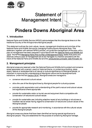 Statement of Management Intent Pindera Downs Aboriginal Area