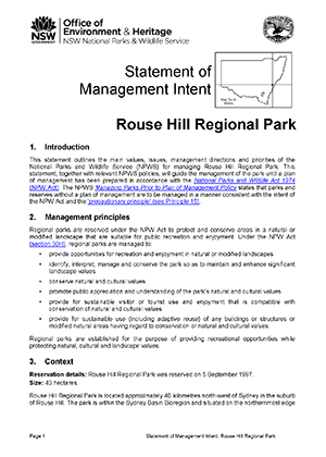 Rouse Hill Regional Park Statement of Management Intent cover