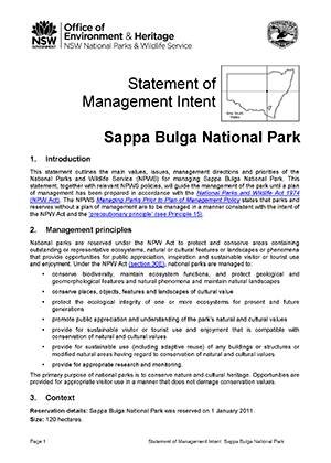 Sappa Bulga National Park Statement of Management Intent