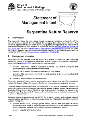 Serpentine Nature Reserve Statement of Management Intent
