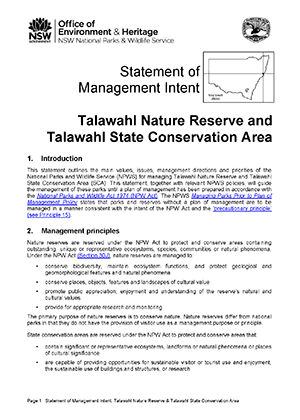 Talawahl Nature Reserve and Talawahl State Conservation Area Statement of Management Intent