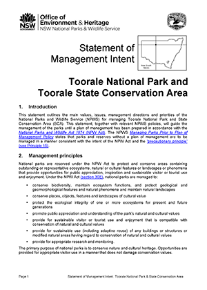 Toorale National Park and State Conservation Area Statement of Management Intent cover