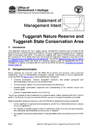 Tuggerah Nature Reserve and State Conservation Area Statement of Management Intent cover