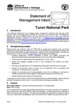 Turon National Park Statement of Management Intent cover
