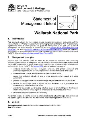 Wallarah National Park Statement of Management Intent cover