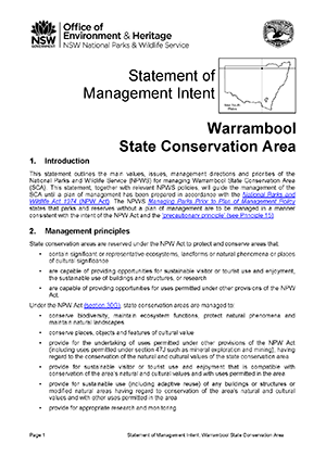 Warrambool State Conservation Area Statement of Management Intent cover