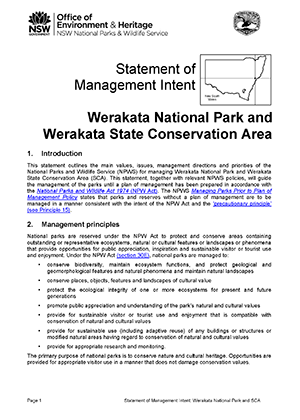 Werakata National Park and State Conservation Area Statement of Management Intent cover