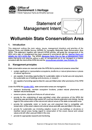 Wollumbin State Conservation Area Statement of Management Intent