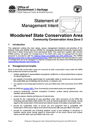 Woodsreef State Conservation Area Statement of Management Intent