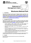 Woolooma National Park Statement of Management Intent cover