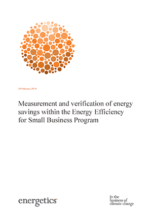 Cover of Measurement and verification of energy savings within the energy Efficiency for Small Business Program report
