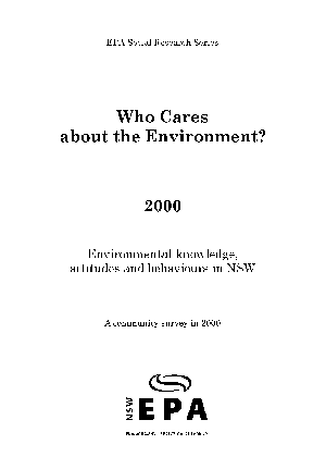 Who Cares about the Environment 2000 cover