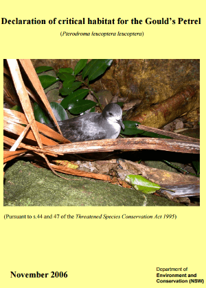 Declaration of critical habitat for the Gould's Petrel (Pterodroma leucoptera leucoptera)