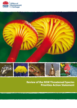 Review of the NSW Threatened Species Priorities Action Statement cover.