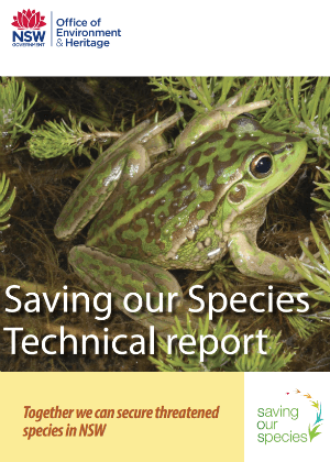 Saving our Species technical report cover.