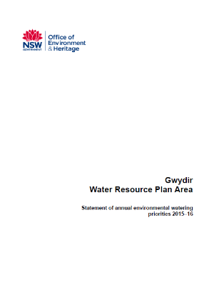 Gwydir annual water priority statement 2015-16 cover