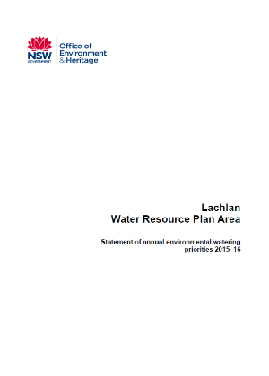 Lachlan annual water priority statement 2015-16 cover