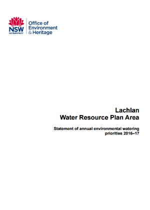 Lachlan Water Resource Plan Area Statement of annual environmental watering priorities 2016–17