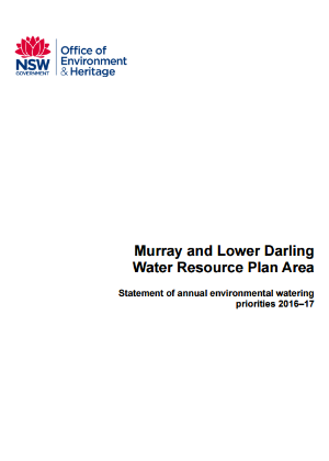 Murray and Lower Darling Water Resource Plan Area Statement of annual environmental watering priorities 2016–17