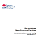 Murrumbidgee Water Resource Plan Area Statement of annual environmental watering priorities 2016–17