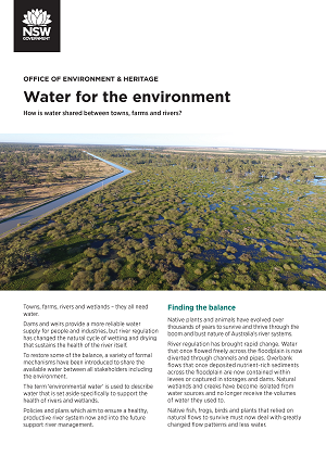 Cover of the Water for the environment fact sheet