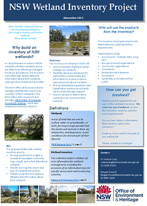 NSW Wetland Inventory Project 2015 cover