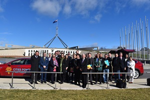 Members of the Climate change Council Australia outside Parliament House, Canberra