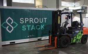 Sprout Stack container with forklift