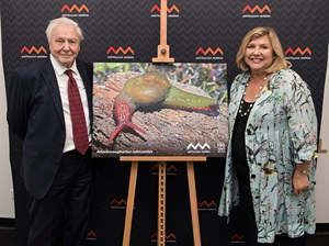 Sir David Attenborough receives the Australian Museum's highest honour, Lifetime Patron, from Museum CEO Kim McKay