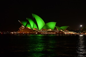 Sydney Opera House, with sails lit in green
