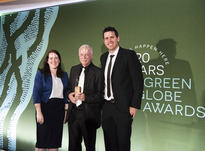 Three Team University of Wollongong members at the Green Globe Awards 2019