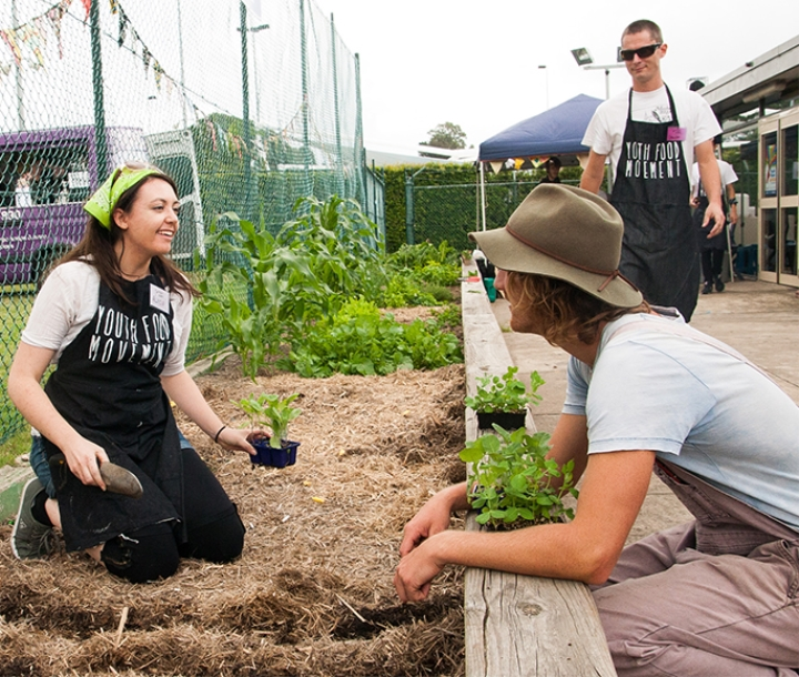 Youth Food Movement Australia members in a vegetable garden