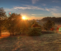 Sunrise over paddocks and trees, Orange NSW