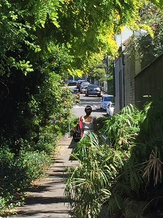 Woman walking away from camera on a footpath in Sydney bordered by green bushes.