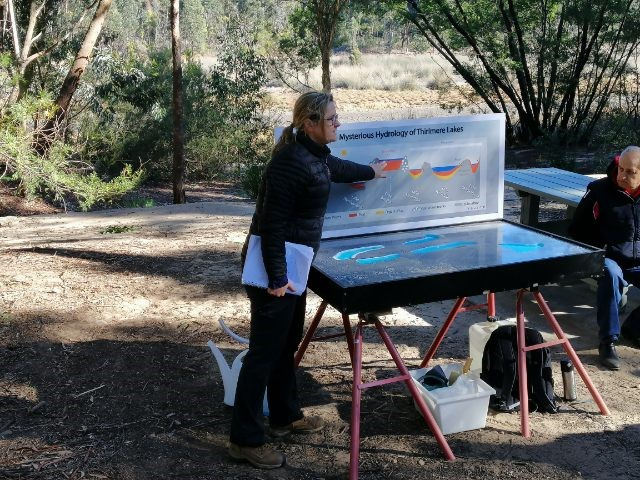 Kirsten Cowley with the hydrological educational model at a Friends of Thirlmere Lakes morning tea, Lake Couridjah