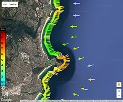 High southerly waves in Sydney map