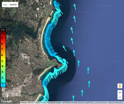 Low southerly waves in Sydney map
