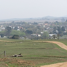 Landscape view of the historic township of Braidwood