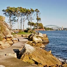 View of the harbour from Clark Island in Sydney Harbour National Park