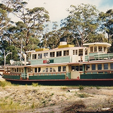 The Lady Denman at Jervis Bay before the museum was built around it