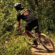 Mountain bike trail rider in Glenrock State Conservation Area