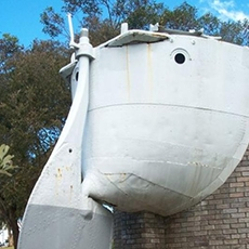 Stern of former HMAS Parramatta torepdo boat destroyer at the memorial in Parramatta