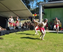 Aboriginal dancers perform during 10th anniversary celebration of joint management of Biamanga and Gulaga National Parks