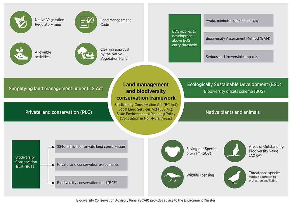 Infographic of land management and biodiversity conservation framework