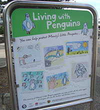 'Living with Penguins' sign created by Project Penguin.
