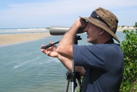 Peter Higgins, bird ecologist, in the field