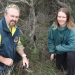 Michael Wood, OEH and student Carly Leeson with Villous mint-bush, Jervis Bay