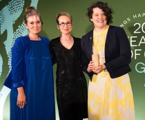 Fujitsu Australia winner of the Green Globe Natural Environment Award for the Digital Owl Project. Kate Harris, Good Environmental Choice Australia; Linda Bell, Saving our Species DPIE; Blaise Porter, Fujitsu Australia