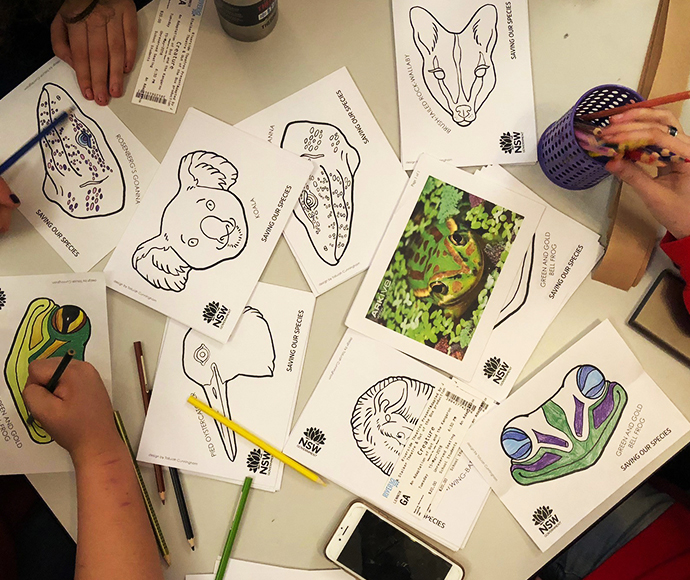 Threatened animals colouring in pages and masks
