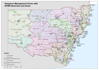 Kangaroo management zones with NPWS branches and areas